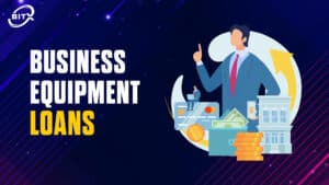 Business Equipment Loans Title with Icon of Man with Money Stack