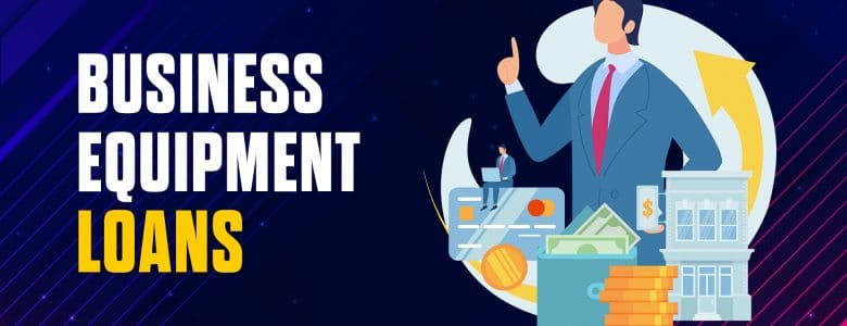 Startup Business Equipment Loans Title with Icon of Man with Money Stack